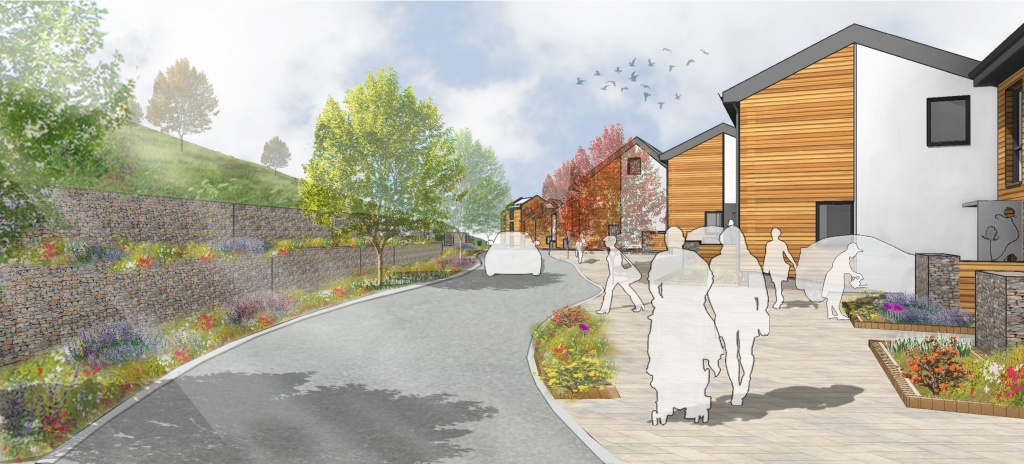 Artists impression of the new homes along Torpoint Lane overlooking the public open space