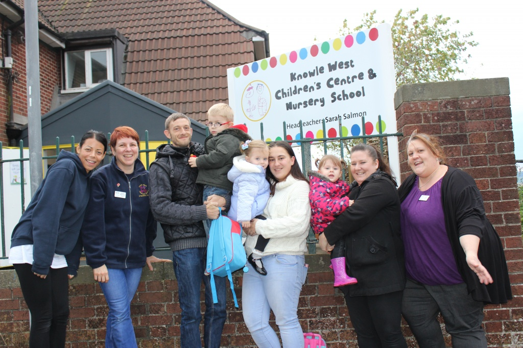 Staff, parents and children outside the new site in Downton Road.