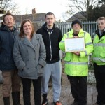 Left to right Steve Griffiths, Nina Griffiths and Chris Lewis from Let's Grow Community Allotments and Andy Moseley and Lewis Prince from Andy's Haven with the group award.