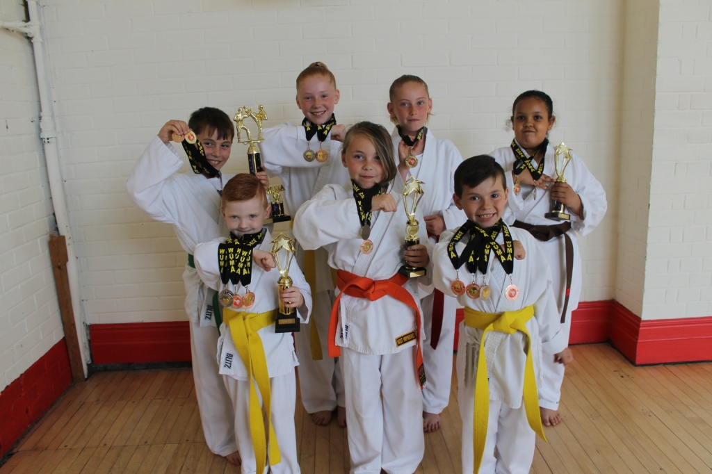 Winners: Back L-R Kadan Wheler, Kelsie MacQueen, Kayden MacQueen and Breanna Roberts. Front L-R Oliver Howells-Davey, Zoe Wheeler and Finley Wheeler