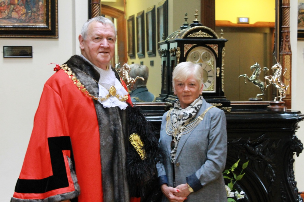 The Right Honourable Lord Mayor of Bristol Councillor Jeff Lovell and the Lady Mayoress Bridget Lovell inside the Mansion House.