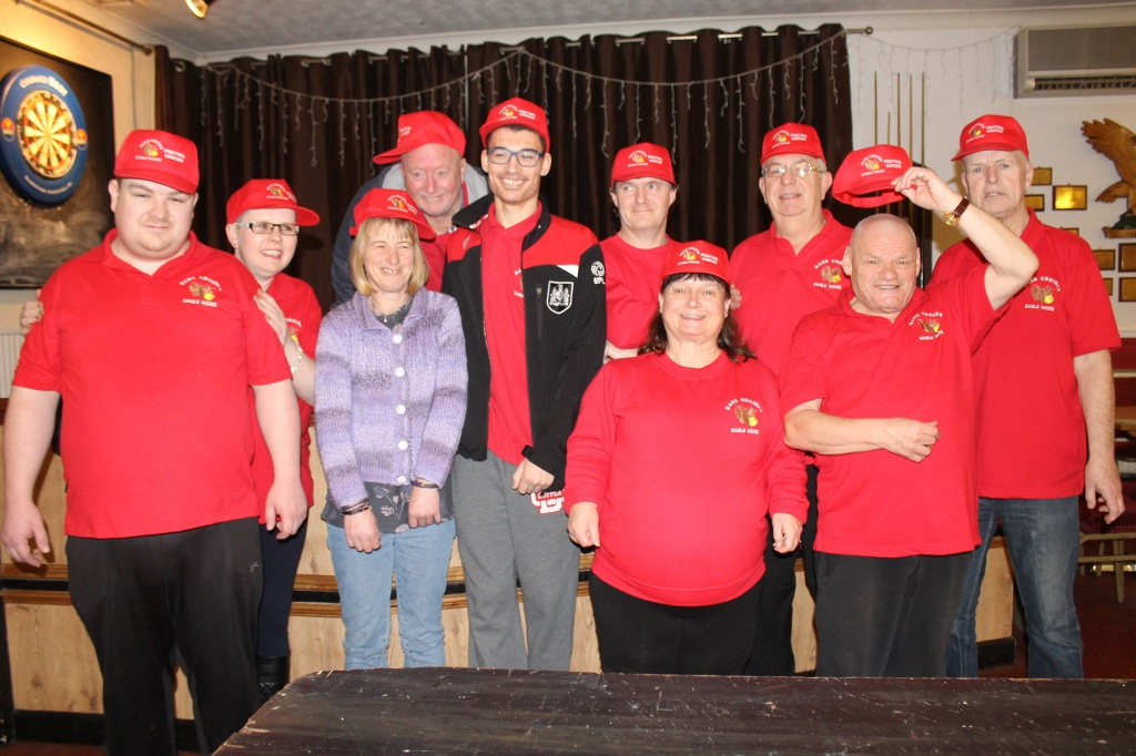 Eagle House Fighting Cancer following the sponsored headshave. L to r front Eddie lewis, Barrie lewis, bob latcham, wesley Lewis, vanessa lewis, Jayne Clarke, Jane lewis, Dave marsh, Steve and Barry Elkins