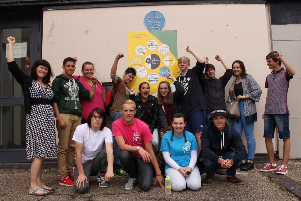 Community Link Co-ordinator for the Matthew Tree, Hannah Sharp (left) with the Youth Moves Team outside Inns Court Centre.