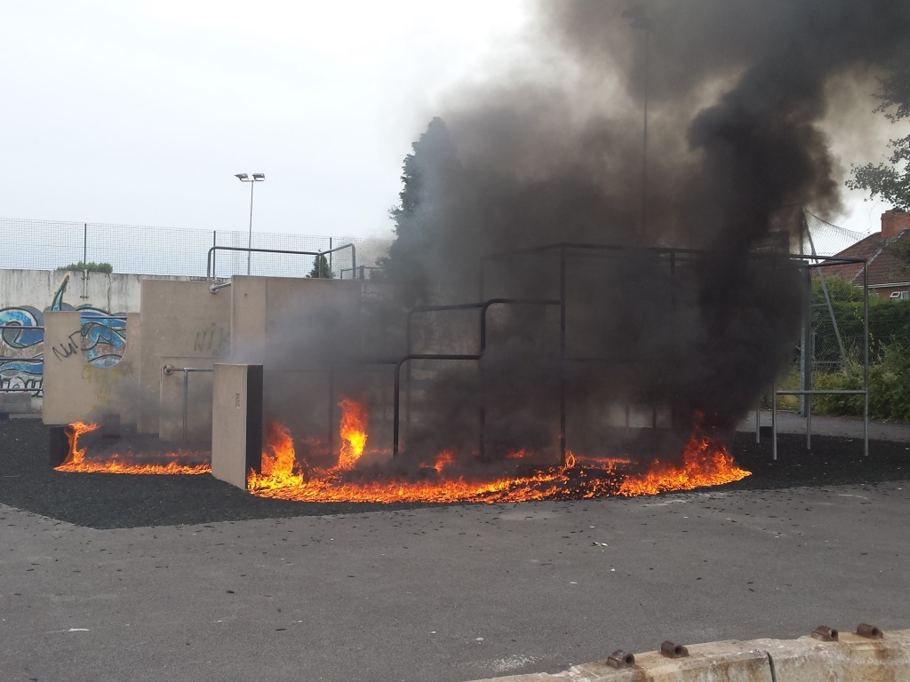 The fire which devastated the Parkour facility in August  at the Park.