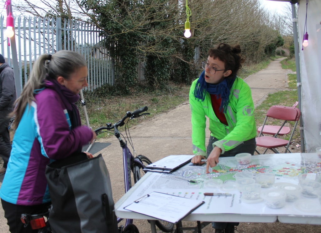 Plans for the route through the Northern Slopes being shown on Wedmore Vale.