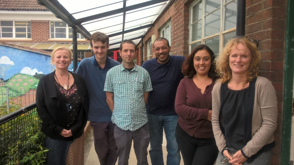 ACE staff at the barbecue: L to r Deputy Manager -Filwood Hub, Jo Whiteland, placement student Charlie Constant , Engagement Workers Ben Cheyney, Richie Horton and Sophie Robinson and Family Engagement Worker Jenny Gathercole.