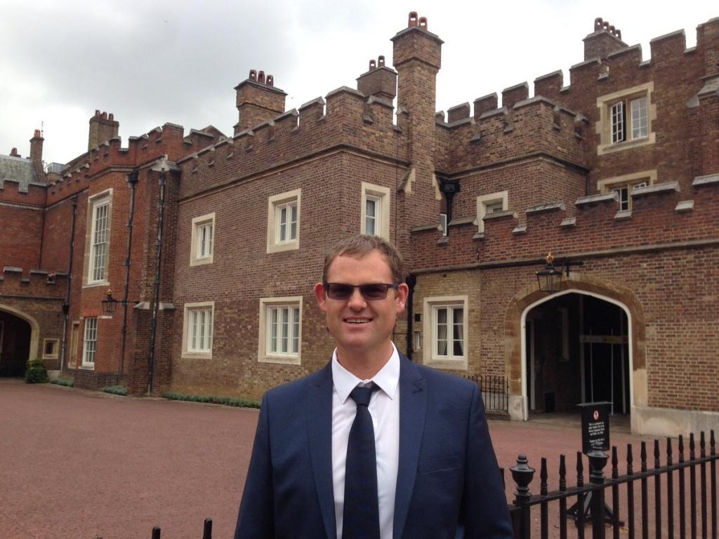 Mr Franzke outside St James Palace. Ready to receive Knowle DGE DofE award