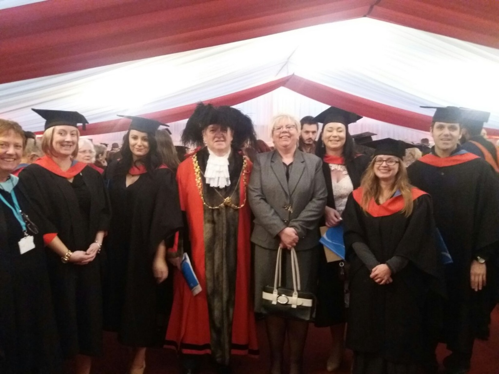 Student counsellors at their graduation with Lord Mayor of Bristol Jeff Lovell and Chair of Knowle West Health Association Carol Casey.